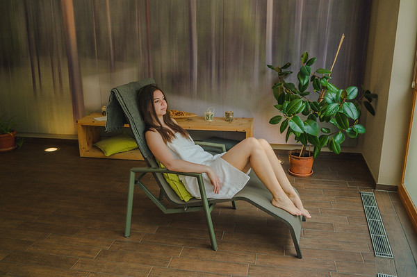 Camping Sass Dlacia - girl relaxing in the wellness area  // Interiors, wellness, lifestyle photography