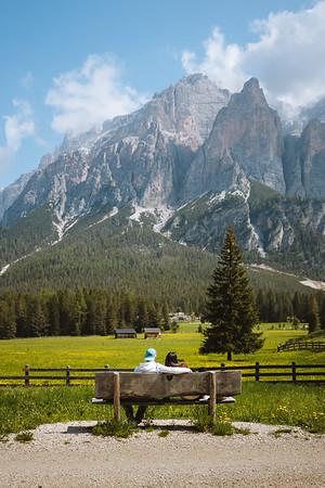 Camping Sass Dlacia - couple admiring the surrounding mountains  // Outdoor, lifestyle photography