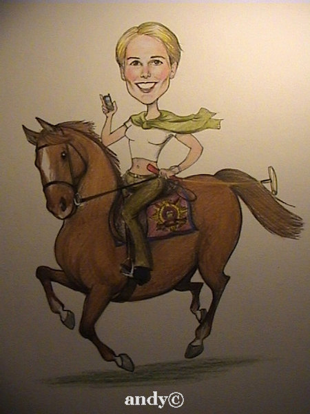 Part of a collection of watercolour caricatures on perminent display at the Guards Polo Club club house.