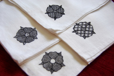 Blackwork handkerchiefs - Isabel Winterbourne