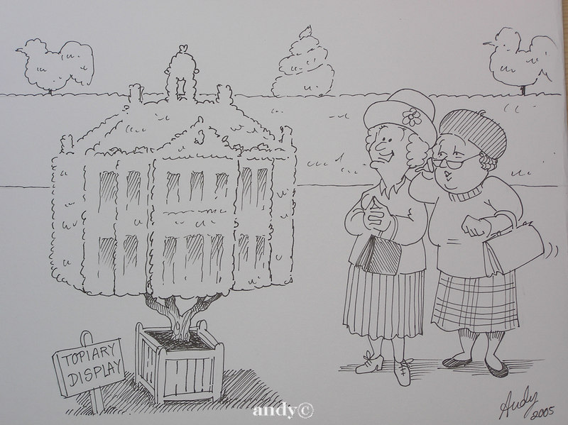 Topiary cartoon  for Stately Home.