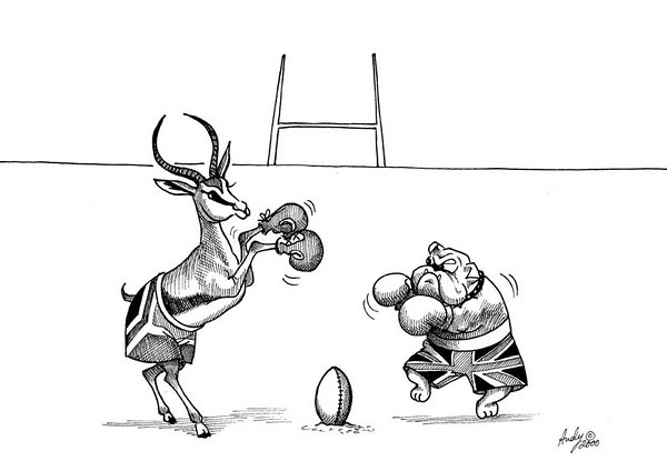 South Aftrica vs GB rugby cartoon .