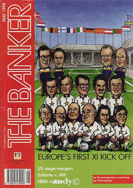 The Banker magasine EU leaders as a football team. Tony Blair 2nd top left.