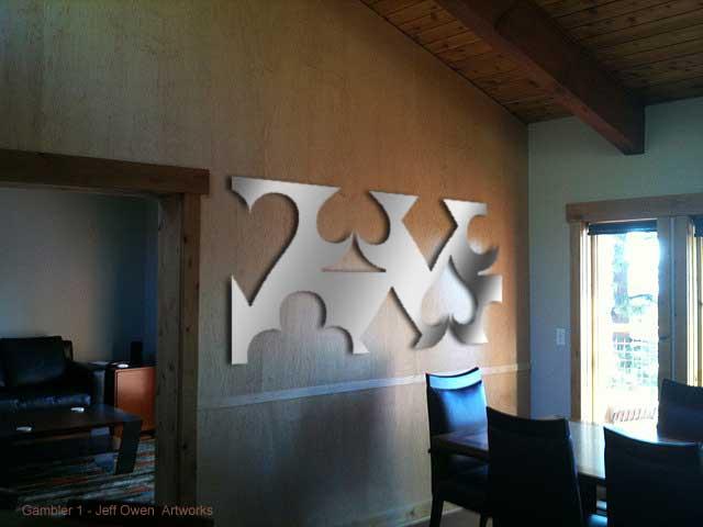 Gambler wall sculpture - 4' x 8' custom design wall sculpture