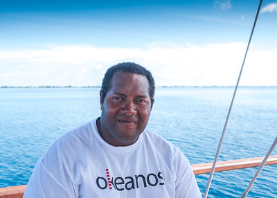"""""""I love what I am doing. I have a passion for this life. The simplicity of bringing the past and present together in a traditional way. And the impact of showing people the utility of this way of living, of teaching. If we bring sailing back into the world of shipping we can reduce the amount of fuel used and greenhouse gases emitted"""" - Steve, Fiji - crew on board the Vaka Motu, a net zero emissions vessel built by Okeanos and now based in the Marshall Islands."""