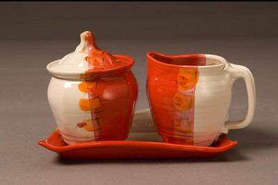 Sugar and creamer containers by Carole Berhorst of Bloomfield Hills, who will be showing work at the Common Ground Birmingham Street Art Fair this weekend, Sept. 17-18.