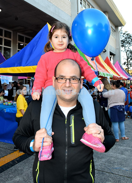 Communal Yom Haatzmaut function at Moriah College. Jeremy Goodman with his daughter Charli. Pic Noel Kessel.