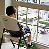 April 4, 2012<br /> <br /> John and I arrived at the swim meet yesterday afternoon and were greeted by David, sitting in the window  playing games on his mom's i-phone...