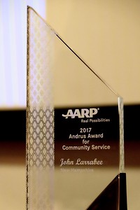 The quality of life in the Eastman Community was been significantly enhanced by the volunteer service of John Larrabee. He is this year's AARP New Hampshire's prestigious Andrus Award winner.