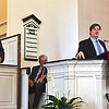 Speaking at the 100th Anniversary of the Community Church of Pepperell is the Pepperell Town Administrator Andrew MacLean, on left is the Pepperell Board of Selectmen Chairman Bill Greathead. SUN/David H. Brow