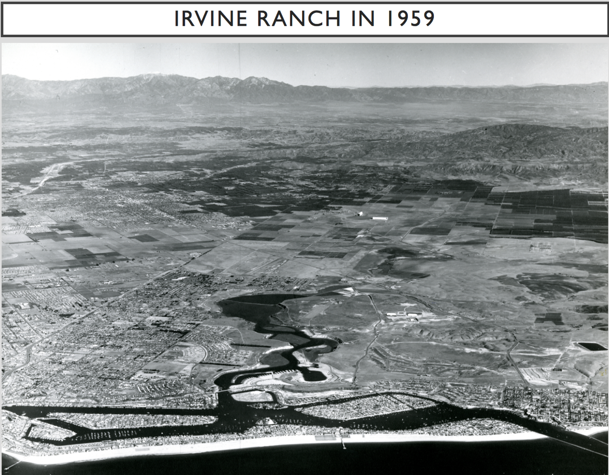 1959-XX-XX - TIC  Oblique aerial view of Irvine Ranch from New Harbor Harbor