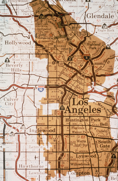1978-XX-XX - TIC - Irvine Ranch property outline overlayed on downtown Los Angeles