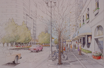197X-XX-XX - TIC - Renderning of Irvine Center street scene