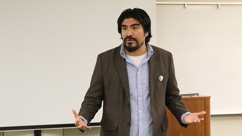 Oliver Rosales, BC history professor and Coordinator of the Social Justice Institute, speaks at the California is Different Event hosted by BC's Social Justice Institute in the Levan Center on September 23, 2015.