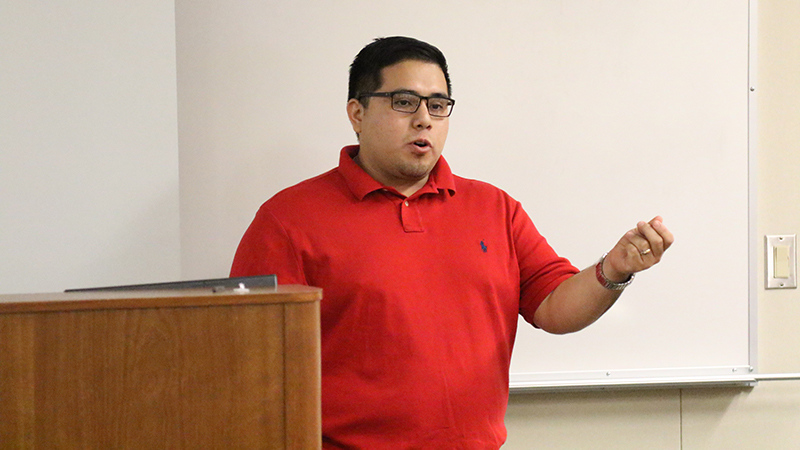 Gustavo Aguirre, Jr of the Central California Environmental Justice Network speaks at the California is Different Event hosted by BC's Social Justice Institute in the Levan Center on September 23, 2015.