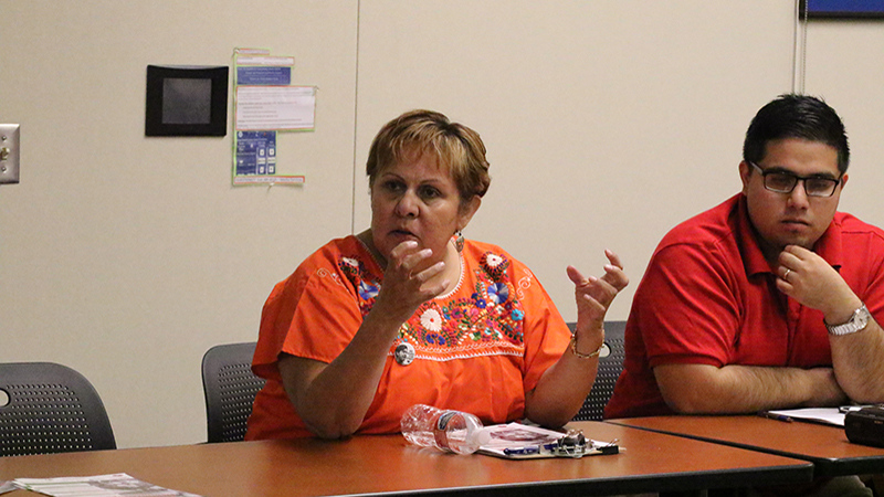 Rosanna Esparza from the Clean Water Fund speaks at the California is Different Event hosted by BC's Social Justice Institute in the Levan Center on September 23, 2015.