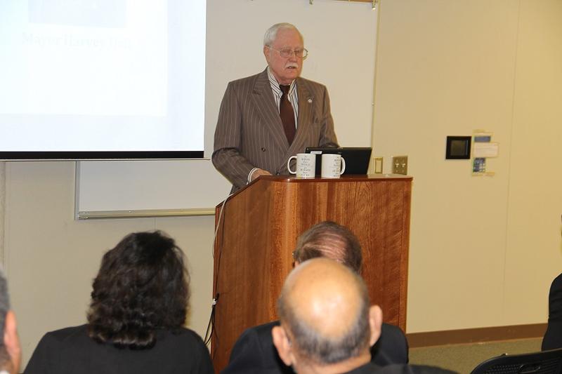 Mayor Harvey Hall speaks at the LEA kick-off event.
