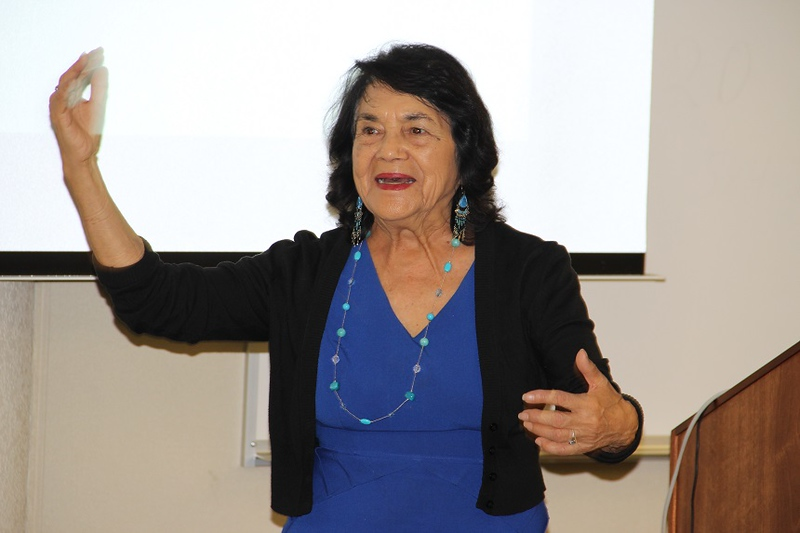 Dolores Huerta speaks at the LEA kick-off event.