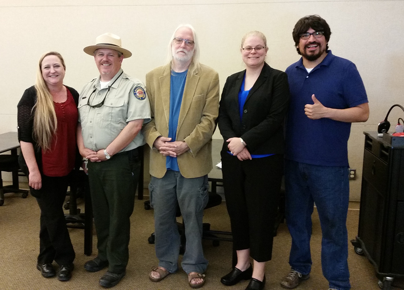 BC Social Studies professor Oliver Rosales (right) poses with the panel from the History of Allensworth event at RFK Lecture Hall in Delano on March 31st, 2016.