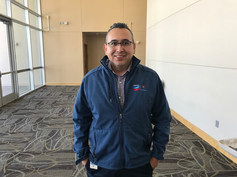 Chevron Community Engagement Advisor Adam Alvidrez attends the Active Shooter Response Training in the Indoor Theater on March 6th.