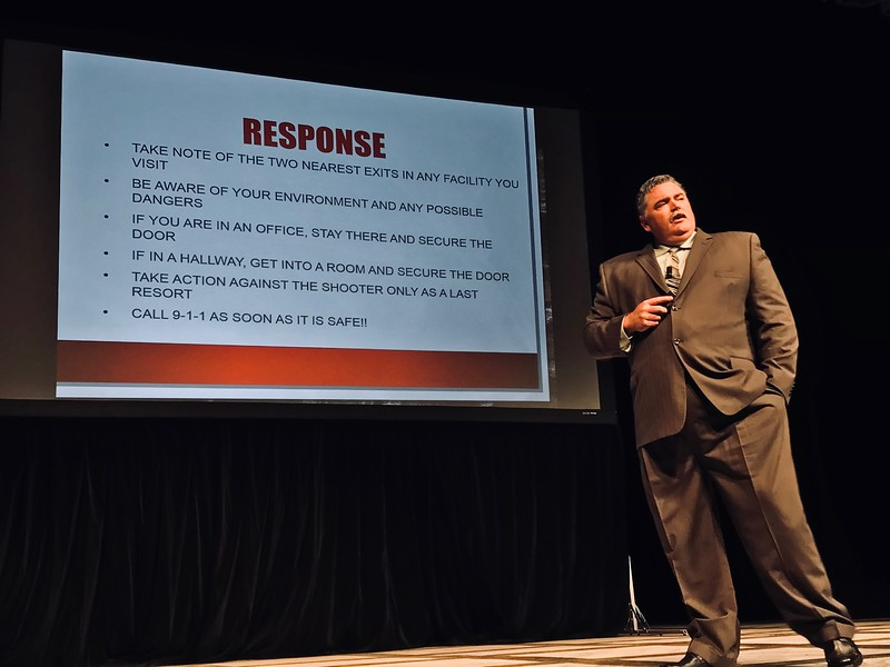 BC Department of Public Safety Chief Chris Counts advises students, staff and faculty on the proper response to an active shooter situation on campus in the Indoor Theater on March 6th.