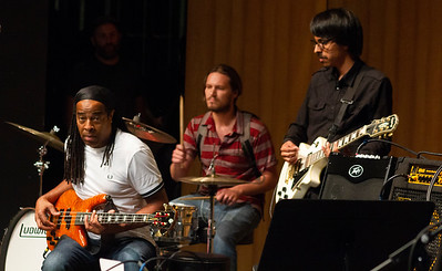 Doug Wimbish, drummer Quinn Thurley and guitarist Miguel Mejia play in the jam session at the Indoor Theater.