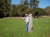 Dan is the owner/shepherd of Flying Mule Ranch.  Here he is starting to place some light fencing that pokes into the ground and is enough to contain sheep, as long as the good green stuff is on their side of the fence.  101013_1960