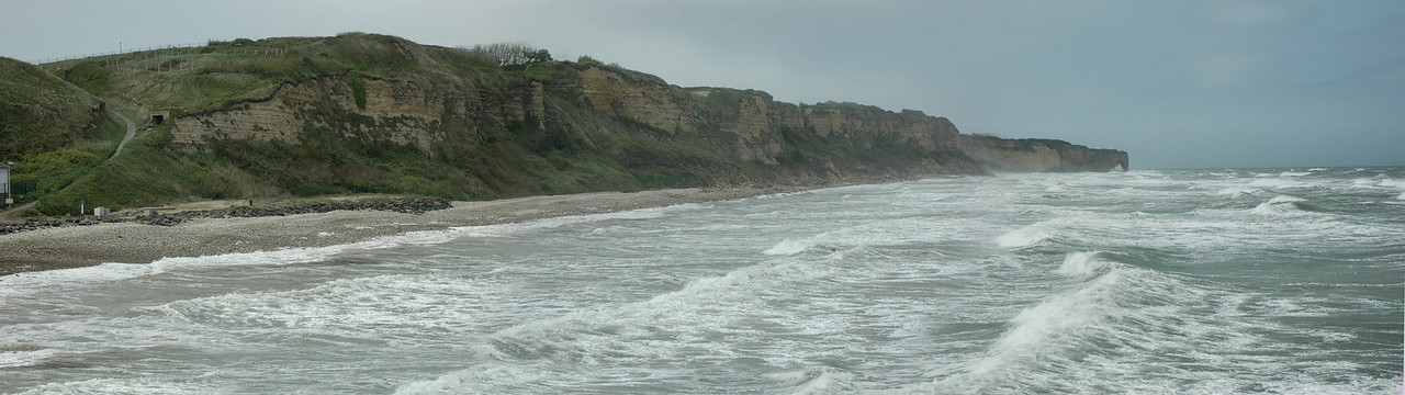 "Omaha Beach - panoramic view of the <a style=""font-size: 14px;"" href=""http://snoupi.smugmug.com/gallery/3395287"" target=""_blank"">Pointe-du-Hoc</a> Cliffs"