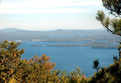 Climbing Mount Major - First View Lake Winnipesaukee