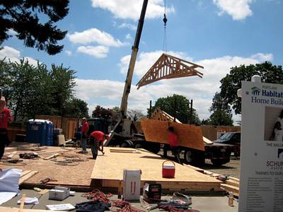 construction scene with crane