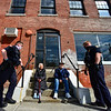 KRISTOPHER RADDER — BRATTLEBORO REFORMER<br /> Brattleboro Police Officers Ryan Washburn and Colby Kerylow talk with Birdie and Mike Williams, of Brattleboro, Vt., as the officers walk around the community to see how people are doing on Wednesday, May 6, 2020.