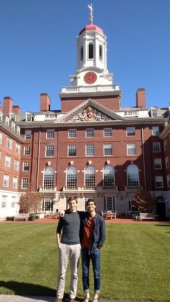 Four years ago Jake Barton attended the Harvard Prize Book breakfast at the Harvard Club and spend the rest of the morning touring the campus of Harvard.  Today the current Holderness Harvard Prize Book recipient, Geoff West, attended the celebratory breakfast and was given his tour of campus by Jake, now a senior at Harvard.  The two are pictured in the enclosed quad of Dunster House where Jake has lived for the past three years.  Congratulations, Geoff, and thanks to Jake for showing Geoff around.  May you both enjoy your senior years.
