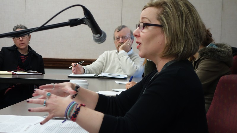 Amy Brooks in conversation with roundtable participants.