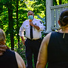 Brattleboro Police Chief Michael Fitzgerald holds a community forum at the Common, in Brattleboro, Vt., to talk about the police department and get feedback from the community on how to improve on Wednesday, June 17, 2020. Kristopher Radder, Brattleboro Reformer via AP