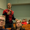 Fitchburg State University freshmen Noah Jacobsen, of Woburn, gives input during a public forum to discuss the future of the Fitchburg Theater Block on Thursday, April, 6, 2017. SENTINEL & ENTERPRISE / Ashley Green
