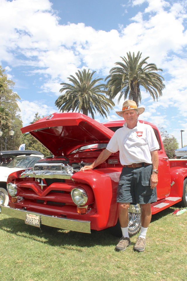 """Pat Carse has restored this F100 pickup truck which originally rolled off the Ford Motors assembly line in 1955.<br /> The distinctive star emblem on the grille appears in place of the more familiar stylized """"V8"""", indicating that Pat's museum-quality vehicle is the more economical six-cylinder model."""