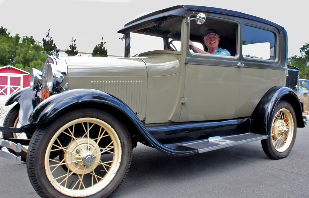 Here's Camarillo's Gregg Healy at the wheel of his 1928 Model A Ford Tudor Coupe.