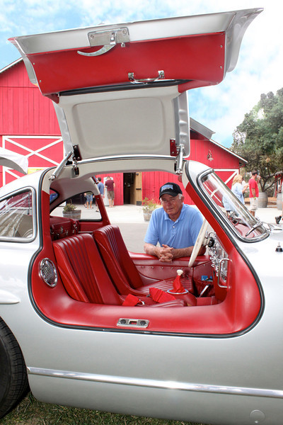 The leather interior of a 1957 gull-wing Mercedes restored by Richard Horton of Simi Valley gives Camarillo's big red barn a run for its money in the color department<br /> Horton is only the third owner of the 55-year-old classic auto, which was one of first motor vehicles in history to utilize fuel injection, and was the fastest production cars of its day.