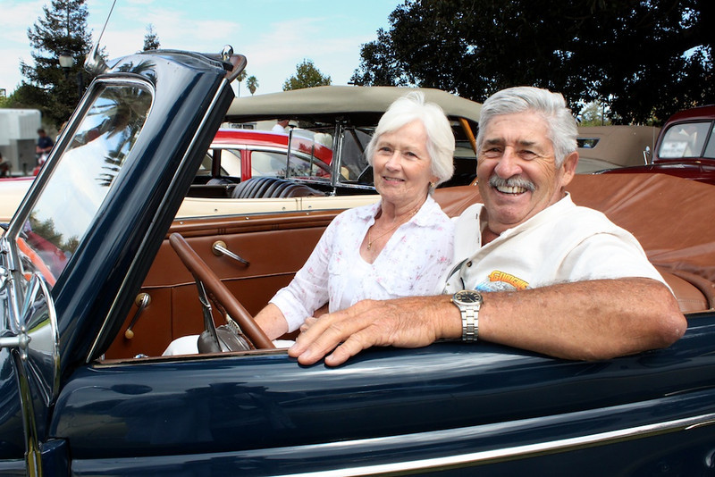Mary and Rif Riffel are livin' the dream at the wheel of his lovingly restored 1939 Ford Deluxe convertible.