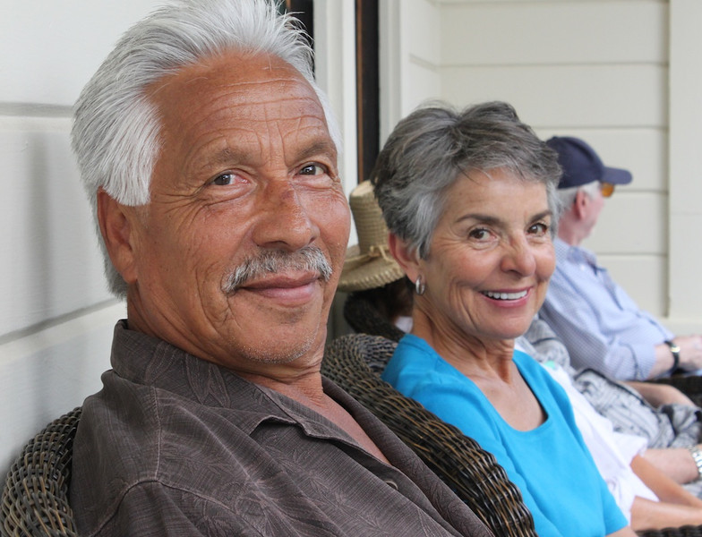 Ray and Carolina Guillen of Camarillo take a moment to cool off on the 120-year-old porch of Don Adolfo's landmark ranch house.