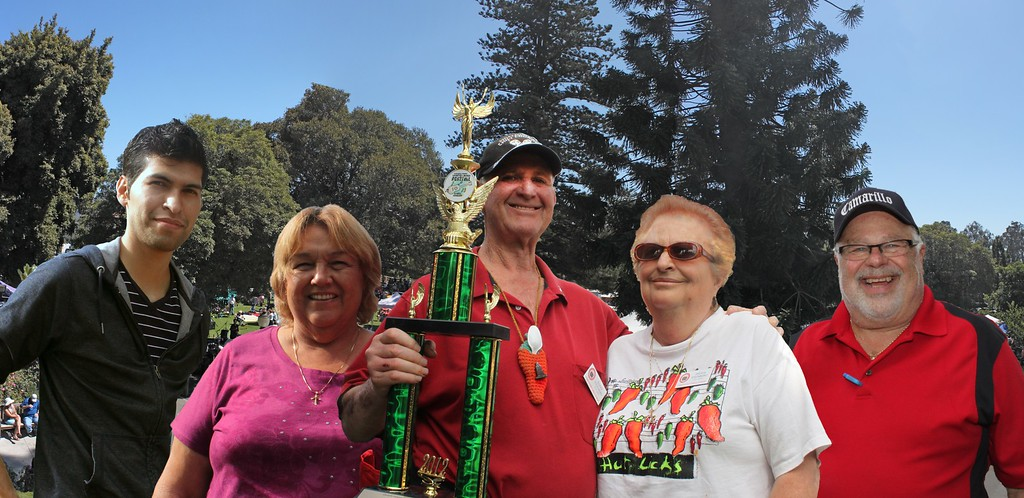 """Distinguished winners of the 2012 Camarillo Chili Cook-off are, from left to right, Richard Martinez for his mouth-watering Salsa entry, Patricia Sanchez for her Red Chili, Barry and Sylvia Steirnberg, who took first place for the second year in a row in the Chili Verde category, and """"Mister People's Choice"""" himself, Camarillo's own Darryl Sobelman."""