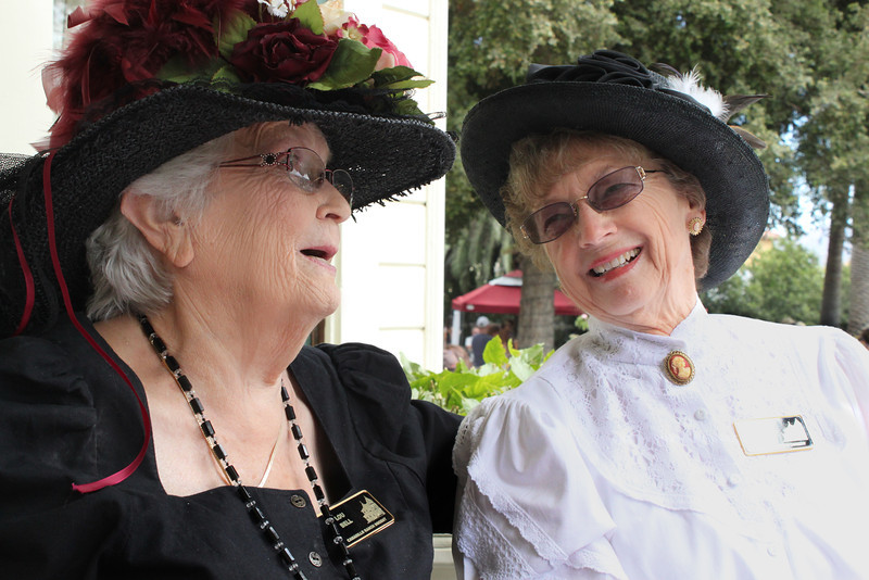 Dressed in 19th century apparel, Ranch docents Lou Bell and Barbara Burrows conducted tours of the historic Camarillo House.