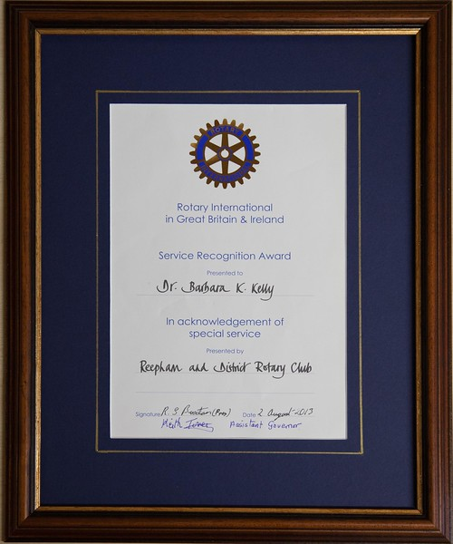 The Rotary award that was presented to Barbara in recognition of her services to the Reepham Community.