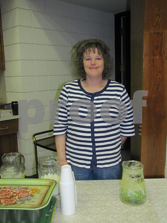Heather Dutcher served beverages at the soup supper.
