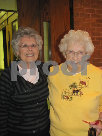 Betty Donahoe and Betty Ahrens at the annual Election Night Soup Supper held at First Congregational Church.