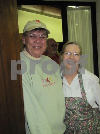 Mary Kay Hoft and Mary Jane Pitman, members of First Congregational Church UCC, stand by ready to assist at the annual soup supper.