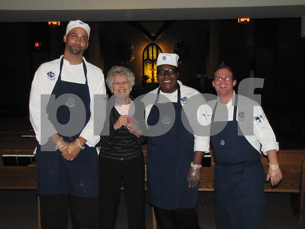 Members of the ICCC Culinary Program pose with Betty Donahoe. The students are Will Presswood, Mia Mosley, and Dillan Gailey.