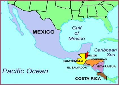 A map showing the location of Belize.