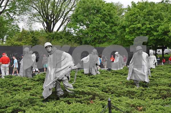 - Messenger photo by Peter Kaspari<br /> <br /> Statues of soldiers stand in the middle of the Korean War Veterans' Memorial in Washington, D.C. The memorial was one of the first stops during the eighth Brushy Creek Area Honor Flight, which brought both Korea and World War II veterans to the nation's capital.