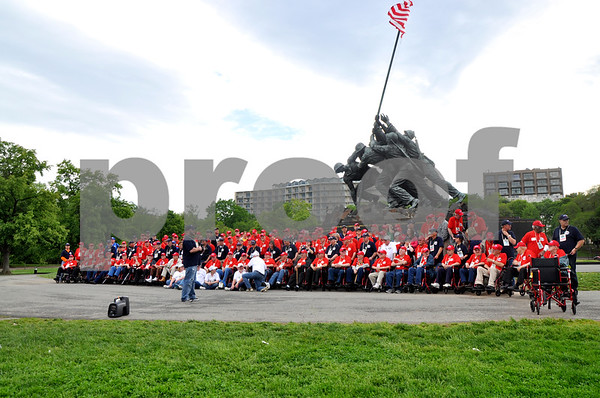 - Messenger photo by Peter Kaspari<br /> <br /> The Brushy Creek Area Honor Flight veterans get set up for a photo in front of the Iwo Jima Memorial in Washington, D.C.